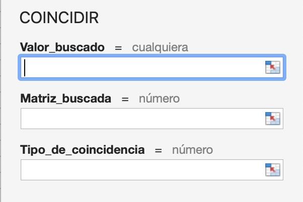 Coincidir en Excel