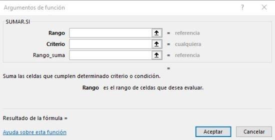 Argumentos función Sumar.si en Excel