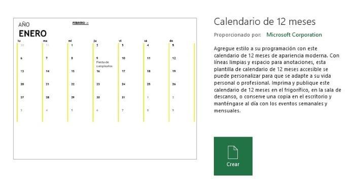 Crear un archivo Excel en base  la plantilla Calendario 12 meses.