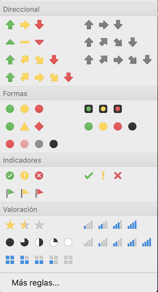 Estilos de íconos en Excel para formato condicional