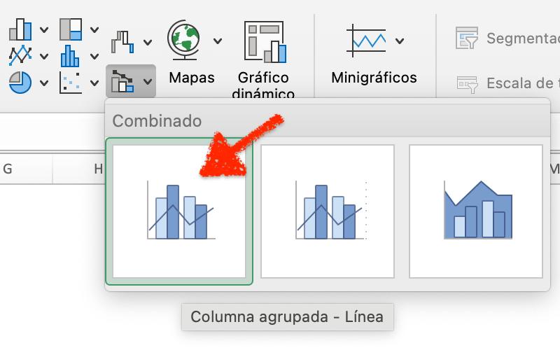Insertar un gráfico combinado