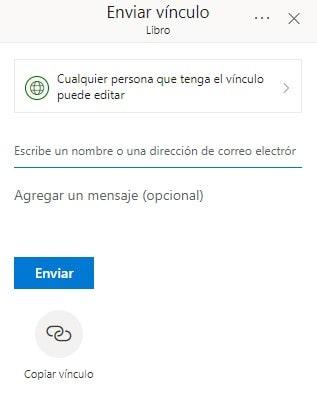 Menú Compartir en OneDrive