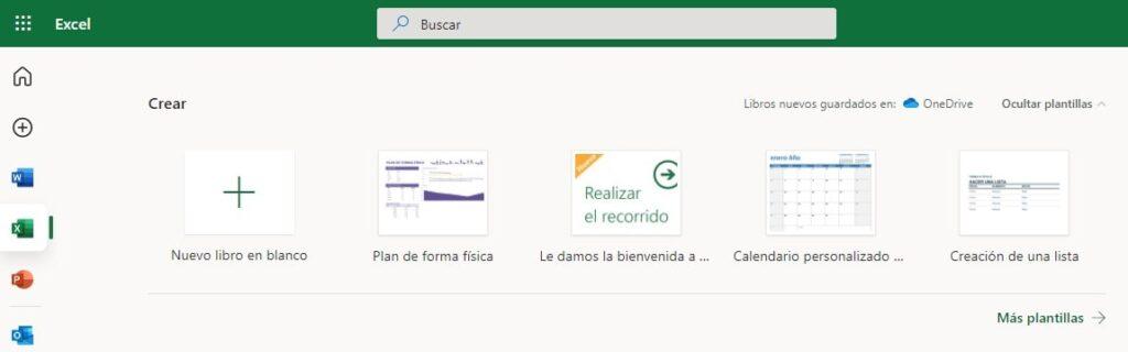 Opciones principales de Excel Online