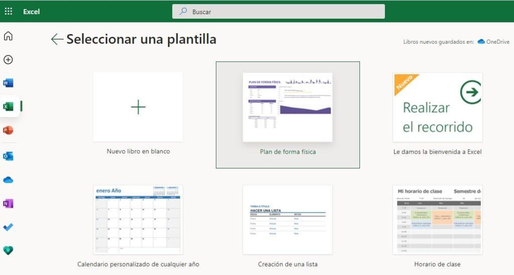 Plantillas disponibles en Excel Online